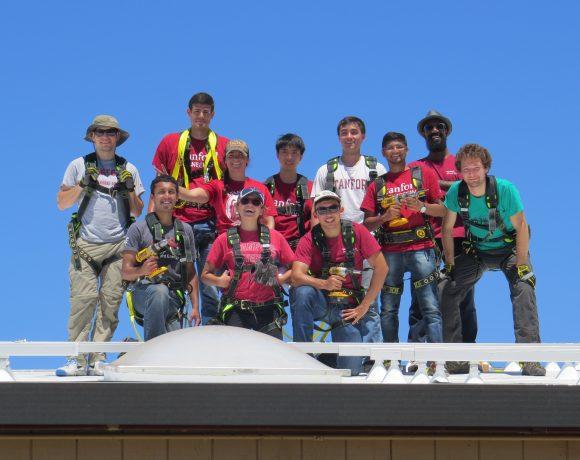 Stanford students help with solar installation