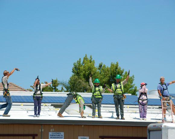 Volunteers spell out SunWork
